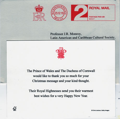 Their Royal Highnesses send LACCS-UK their warmest best wishes for a very Happy New Year 2020